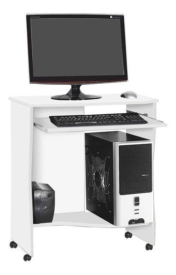 Mesa Para Computador Escrivaninha Com Rodízio Branca