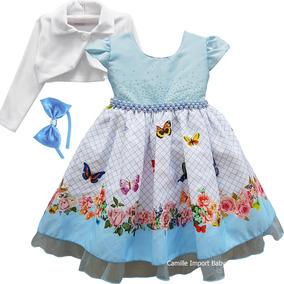 Vestido Infantil Borboletas Azul Festa Floral Luxo E Bolero