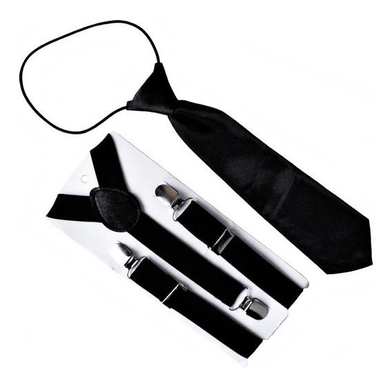Set Suspensores + Corbata Para Niños Color Negro