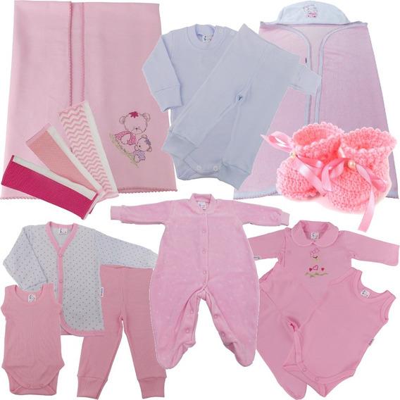 Enxoval Bebê Kit Maternidade Para Bebê Menina 15 Peças