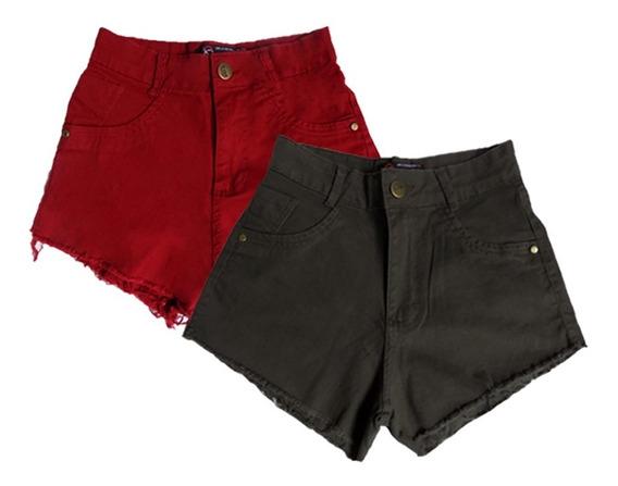 Short Jeans Brim Cintura Alta Hot Pants Promoção C/2