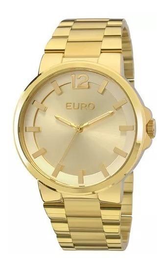Oferta Relógio Euro Dourado Feminino Presente Dia Dias Mães