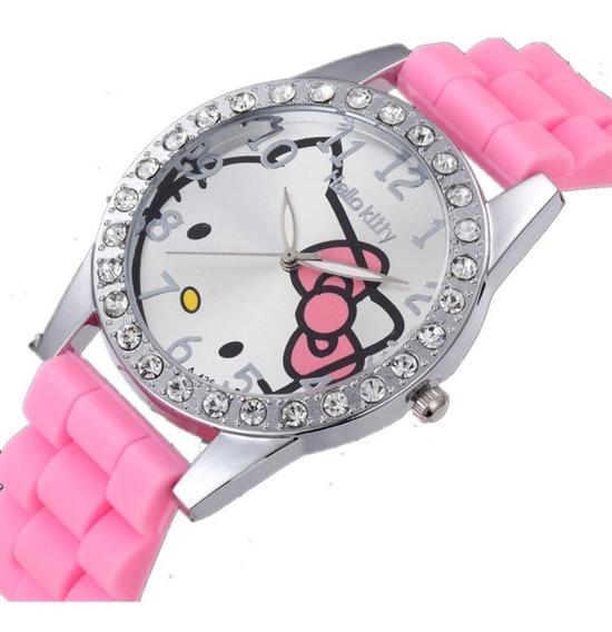 Relógio Feminino Hello Kitty Infantil Juvenil Brilhante Luxo