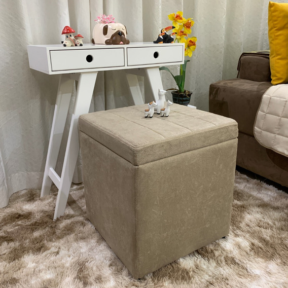 Puff Baú Cubo Areia Luxo Suede Sala Quarto A49x40x40 Oferta