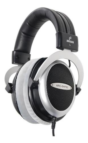 Imagem 1 de 4 de Fone de ouvido over-ear Arcano ARC-SHP80 preto e prateado