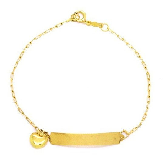 Pulseira Infantil Com Coração Em Ouro 18k - Ov/11214