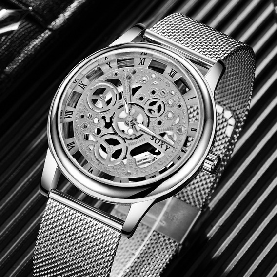 Relógio Unissex Esqueleto Prata