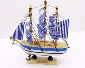 Barco Navio Caravela Decoração Enfeite Madeira Tecido 16cm