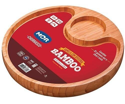 Gamela E Bandeja De Bamboo P/ Churrasco Com 2 Divisórias Mor