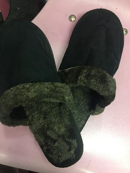 Pantuflas Negras Con Corderito Adentro N° 42, Como Nuevas!!