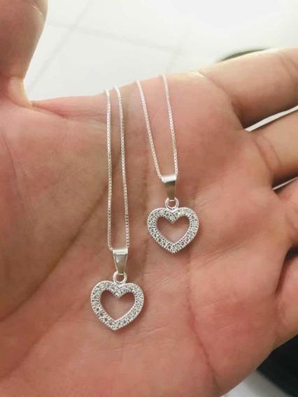 Colar Prata 925 C/ Pingente De Coração Cravejado C/ Zircônia