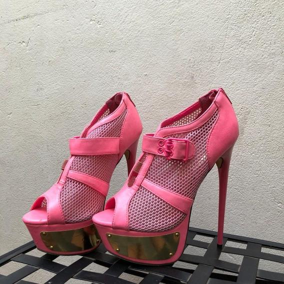 Zapatos Rosa Con Dorado Marca Liliana