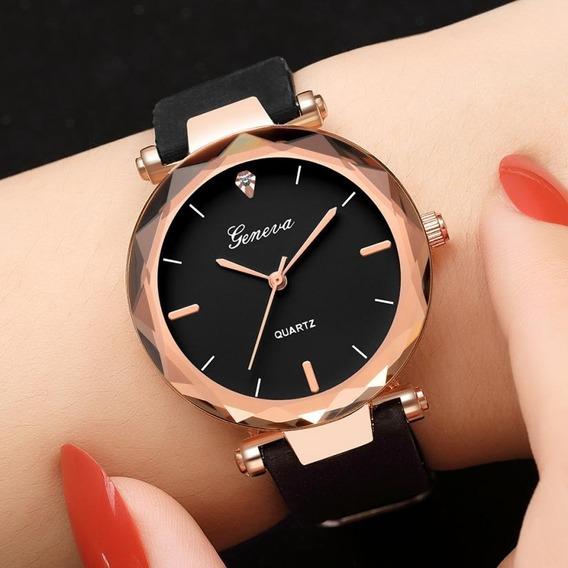 Relógio Feminino Luxo Rosé, Silicone