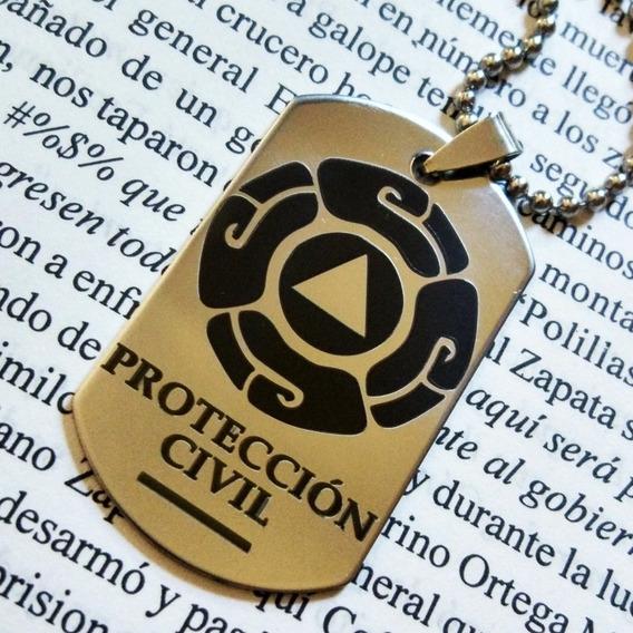 Placa Militar Dije Cadena Llavero Protección Civil