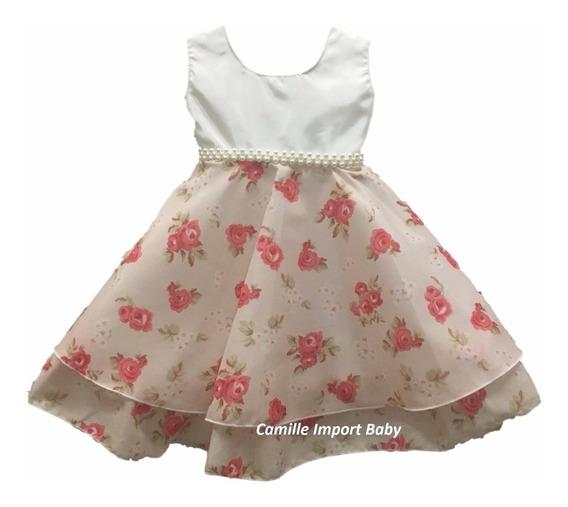Vestido Infantil Festa Bebe Floral Princesa E Tiara