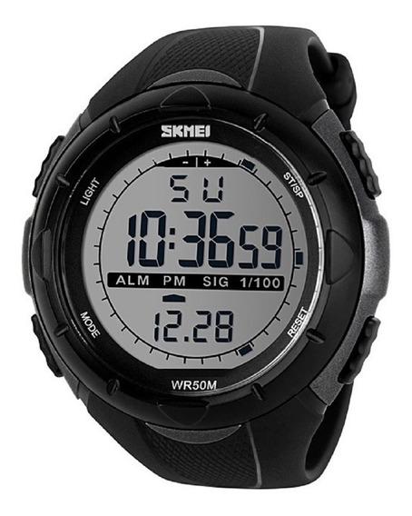 Relógio Masculino Led Digital Skmei 1025 Preto E Cinza