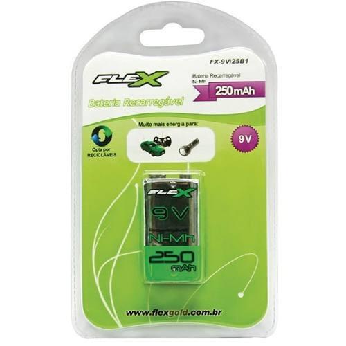 Bateria Recarregável 9v 250mah Nimh Flex