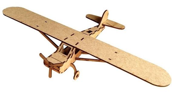 Quebra Cabeça 3d Avião Piper Pa18 Mdf