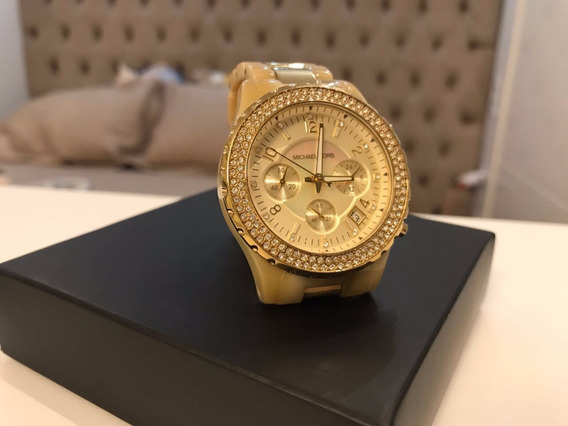 Relógio Mk Bege (osso) E Dourado - Original Michael Kors