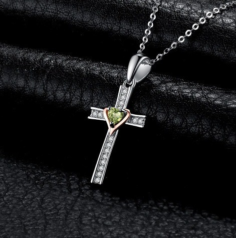 Colar Cruz Corrente Feminino Prata Pedra Verde Peridoto