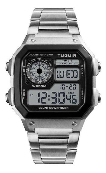 Relógio Unissex Tuguir Digital Tg1335 Prata Original C/nf