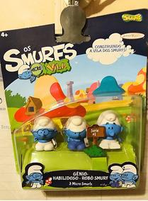 Os Smurfs Micro Vila Série 1 Gênio + Habilidoso + Robô Smurf