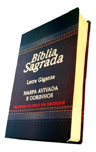 Imagem 1 de 3 de Bíblia Sagrada Preta Letra Grande Gigante Com  Harpa Cristã