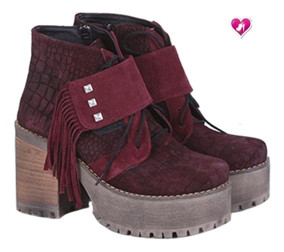 Botineta Borcego Cuero Nueva Tempora Barbara De Shoes Bayres