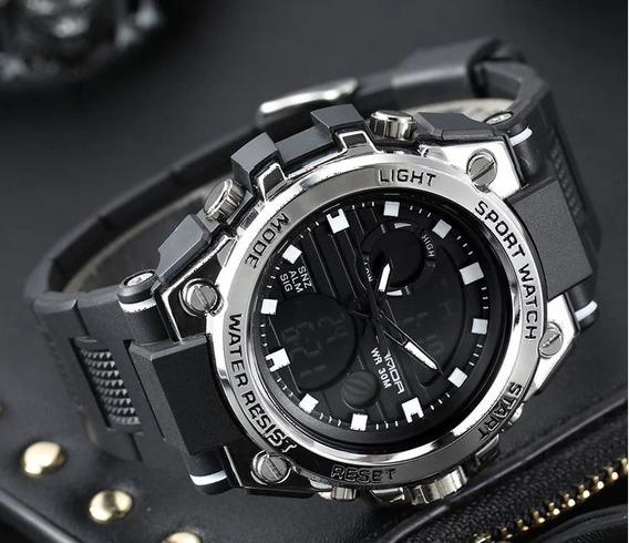 Relógio De Pulso Sanda 739 Preto Prateado Original