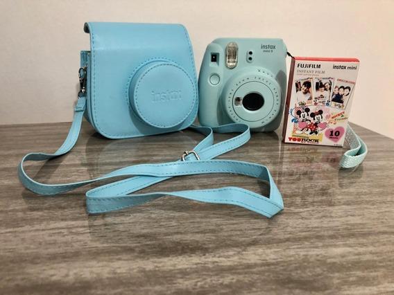 Kit Câmera Instax Mini 9 Azul Aqua, Câmera, Bolsa+ 10 Filmes