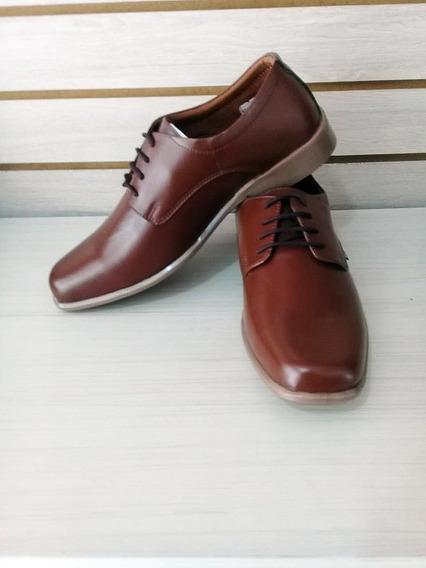 Zapato Formal Elegante Para Hombre En Cuero Cafe Con Cordón