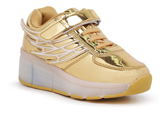 Tênis De Rodinha Com Led Dourado
