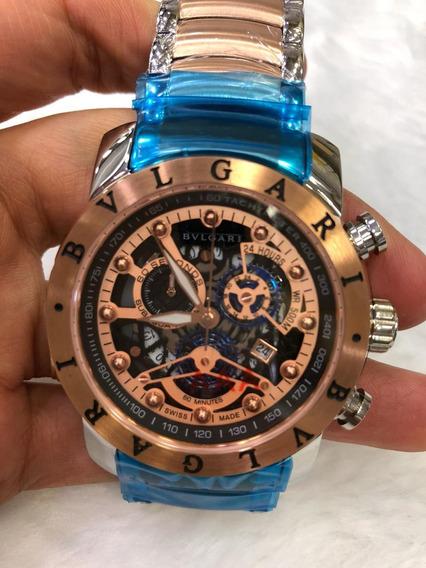 Relógio Masculino Bv Skeleton Rose Gold Subaqua Quartz Aço