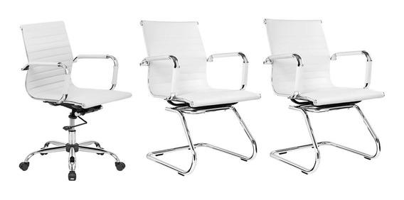 Kit 1 Cadeira Diretor + 2 Cadeiras Fixas Charles Eames