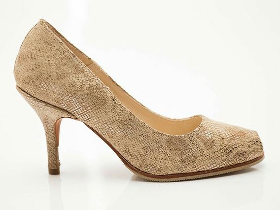 Zapatos Stilettos Dorados Con Boca De Pez De Cuero Nuevos