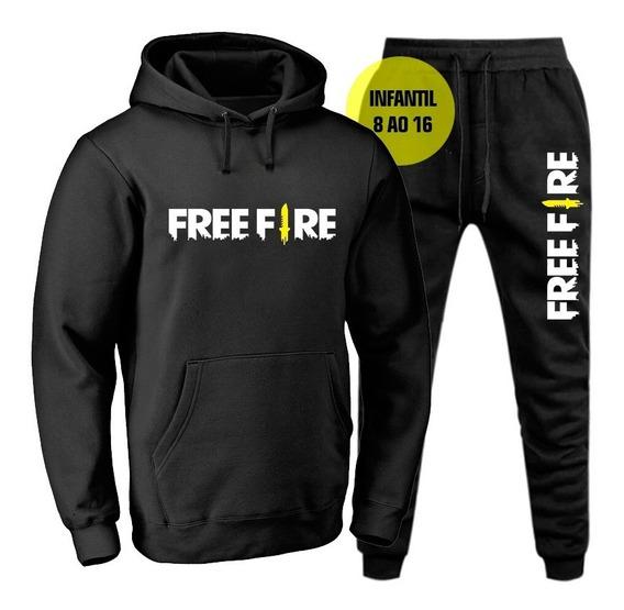 Conjunto Moletom Blusa De Frio Infantil Masculino Free Fire