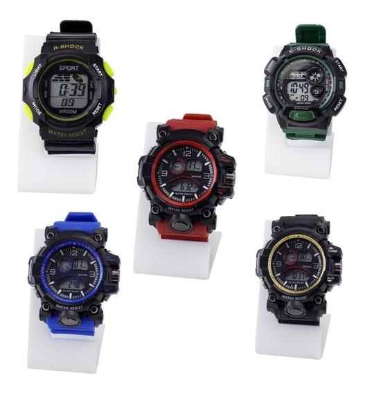 Kit 10 Relógios Masculinos Digitais À Prova D