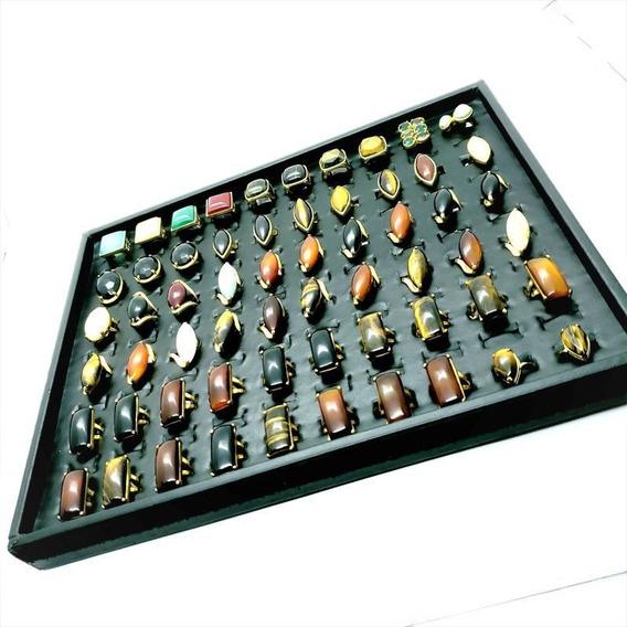 Kit 60 Anéis Pedra Natural Banho Ouro Atacado Revenda 4703