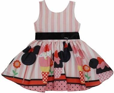 Vestido Infantil Tam: 1 Ao 4 Rosa Minie Brinde Katitus 1445