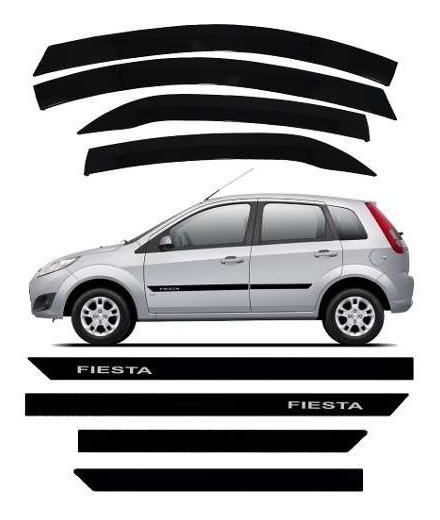 Kit Friso Borrachão Ford Fiesta + Calha De Chuva Novo Design