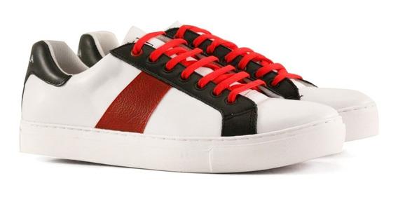 Zapatillas De Cuero En Blanco Con Rojo