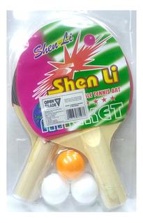 Kit Para Brincar Com Os Amigos De Ping Pong 2 Raquete 3 Bola