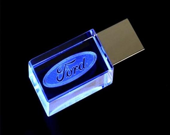 Pen Drive 16gb Cristal Ford Azul + Caixa Portátil