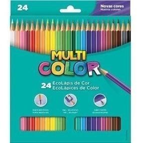 Lapis De Cor Multicolor Super Eco 24 Cores Sextavado