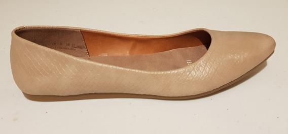 Zapato Para Mujer, Ballerina Color Beige,superficie Grabada