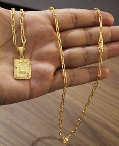 Corrente 70cm 3mm + Pingente Placa L Banhado A Ouro 18k