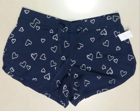 Short Gap Love Mujer Algodon Lycra Pijama Original Importado Usa Azul Marino Corazones