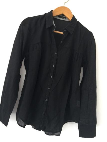 Camisa De Algodón Negra Larga Semi Transparente Akiabara