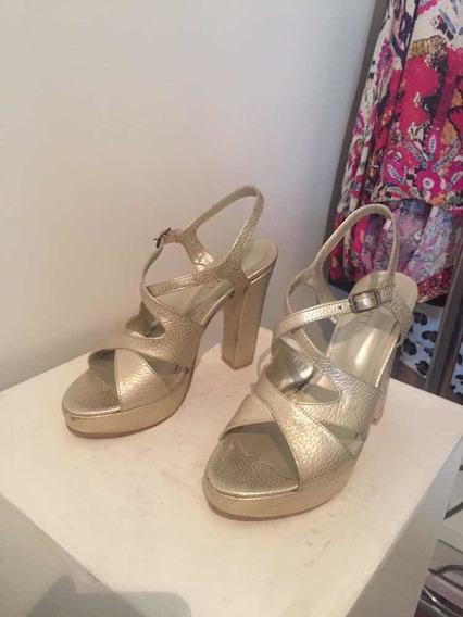 Sandalias Cuero Doradas Bellísimas Última Moda