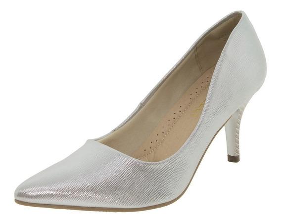 Sapato Feminino Salto Médio Prata Facinelli - 62107